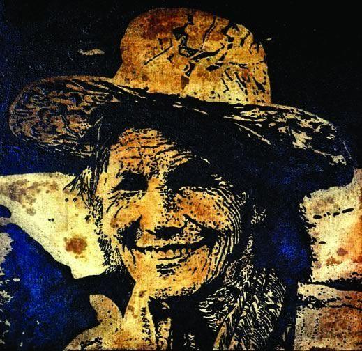 Coffee ground portrait of elderly farmer