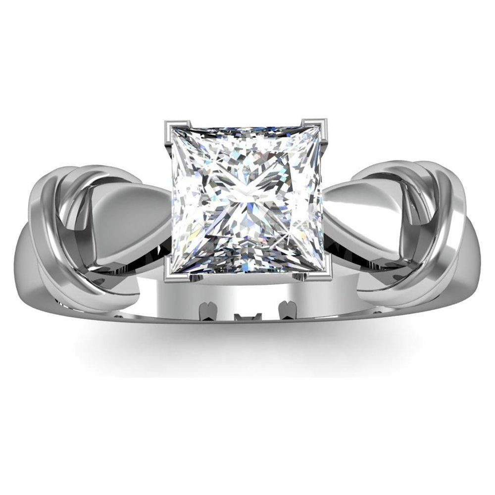 Princess Cut Diamond Engagement Rings With Diamond Band 26