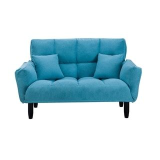 Modern Plush Tufted Sofa with Support Legs (Blue)