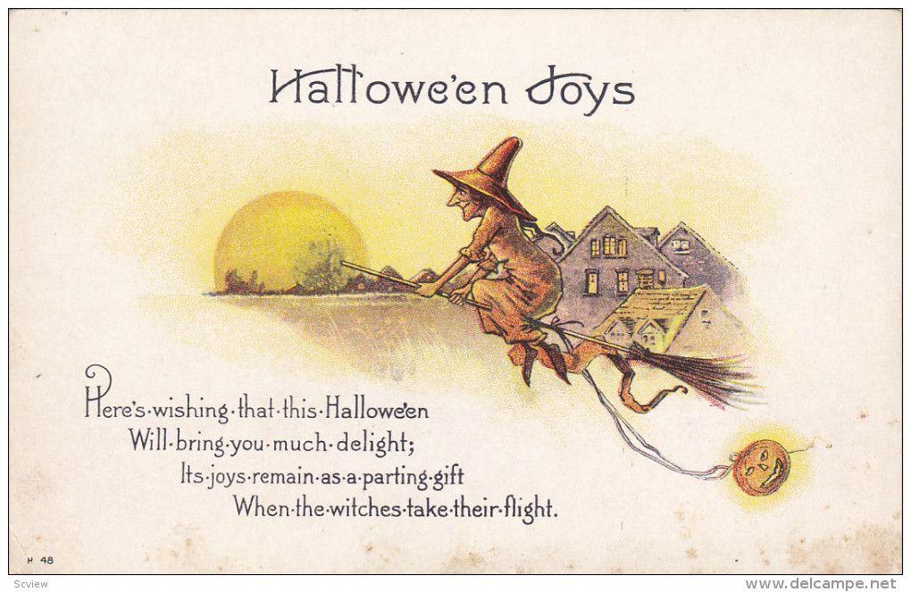 HALLOWEEN: Jack O´Lantern tied to witch's broom , 00-10s - Delcampe.com