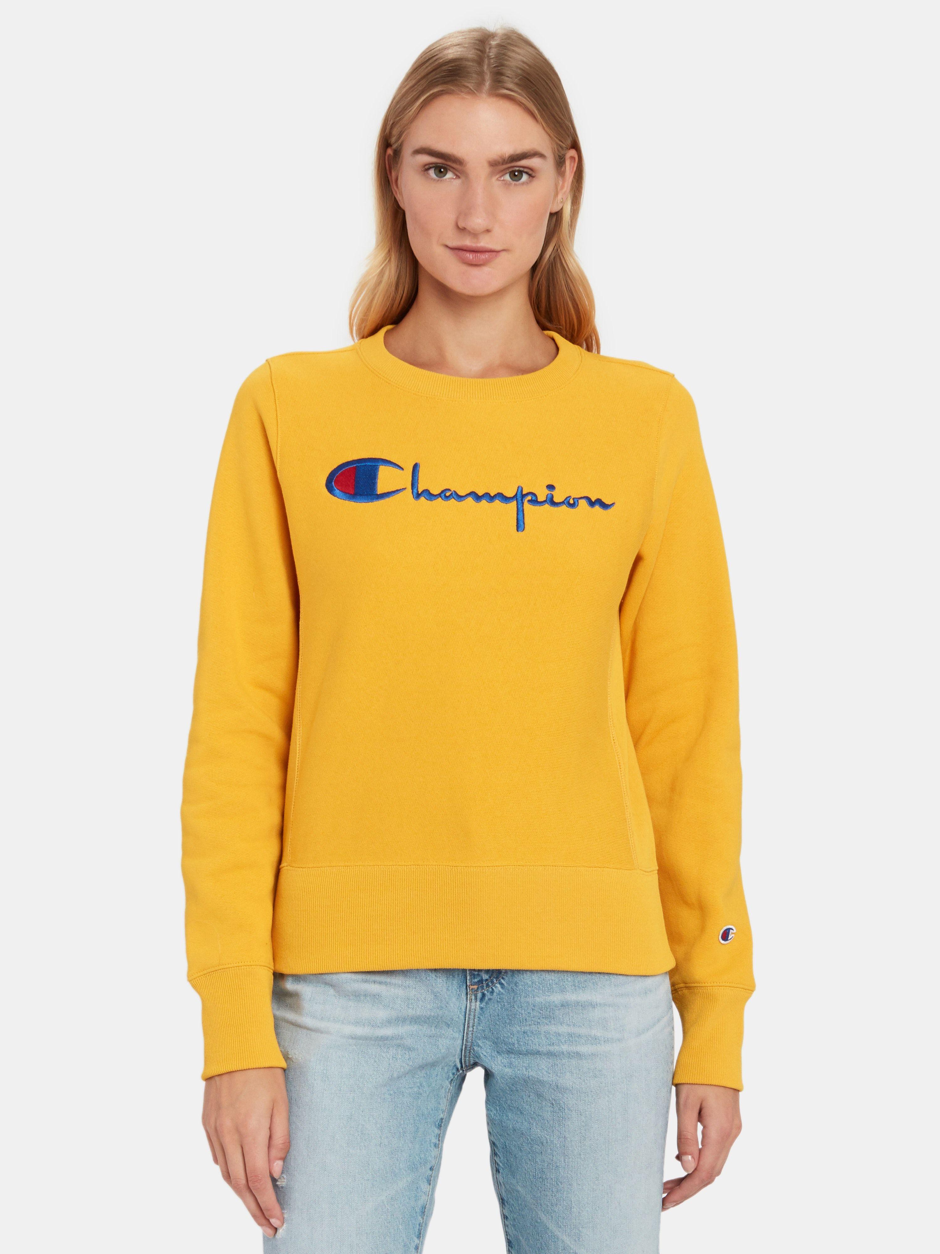 Champion Reverse Weave Big Script Crewneck Sweatshirt Powder Sunrise Yellow Xs Also In M S Xl L Sweatshirts Crew Neck Sweatshirt Champion Clothing [ 4000 x 3000 Pixel ]