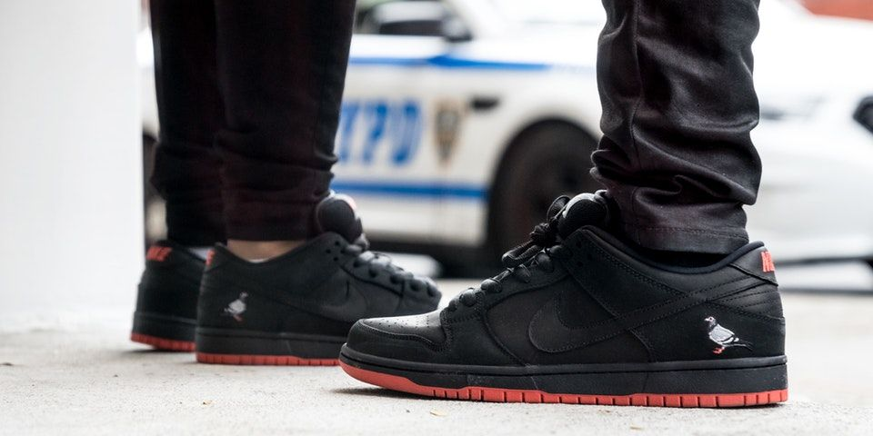 a1e85889d331f6 Jeff Staples Nike SB Dunk Low Black Pigeon Drew Flocks to Reed Space Pop-Up