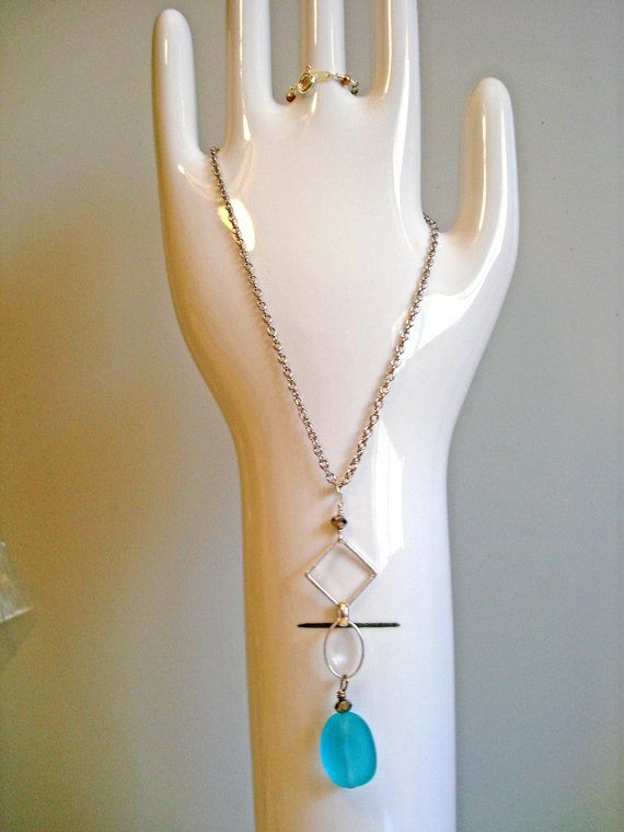 necklace, womens, modern, seaglass, silver chain
