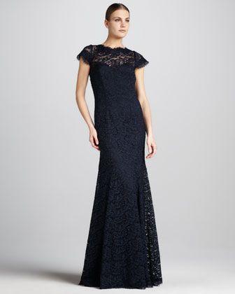 350c94e6541 ML Monique Lhuillier Open-Back Lace Gown