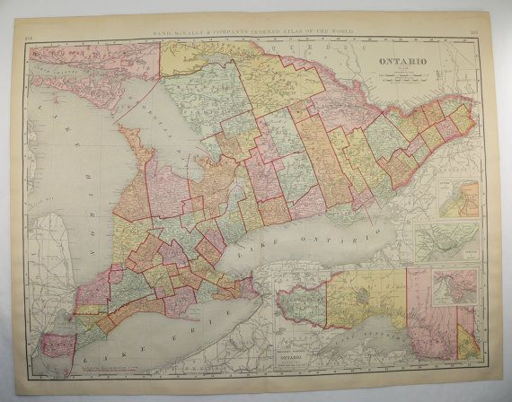 Ontario Map Canada 1899 Large Map Great Lakes Canadian Gift Idea