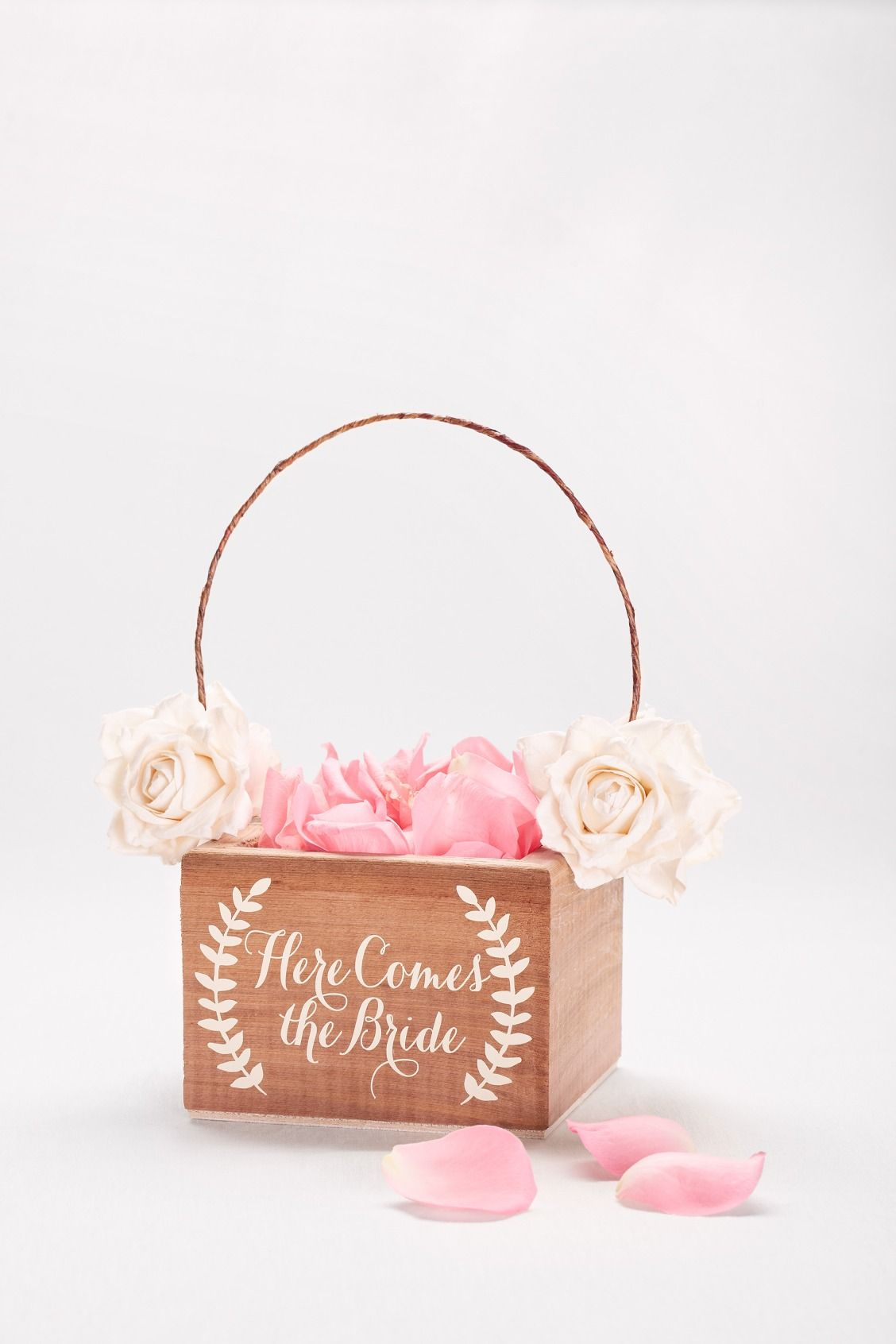 Here Comes the Bride Wooden Flower Girl Basket available at David\'s ...