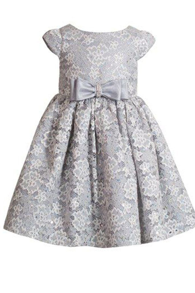 Princess gray tulle cap sleeves bowknot A-line cute girls dress