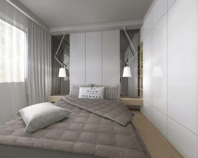 Schlafzimmer Klein Weiss Einbauschrank Grau Helles Holz Bedroom