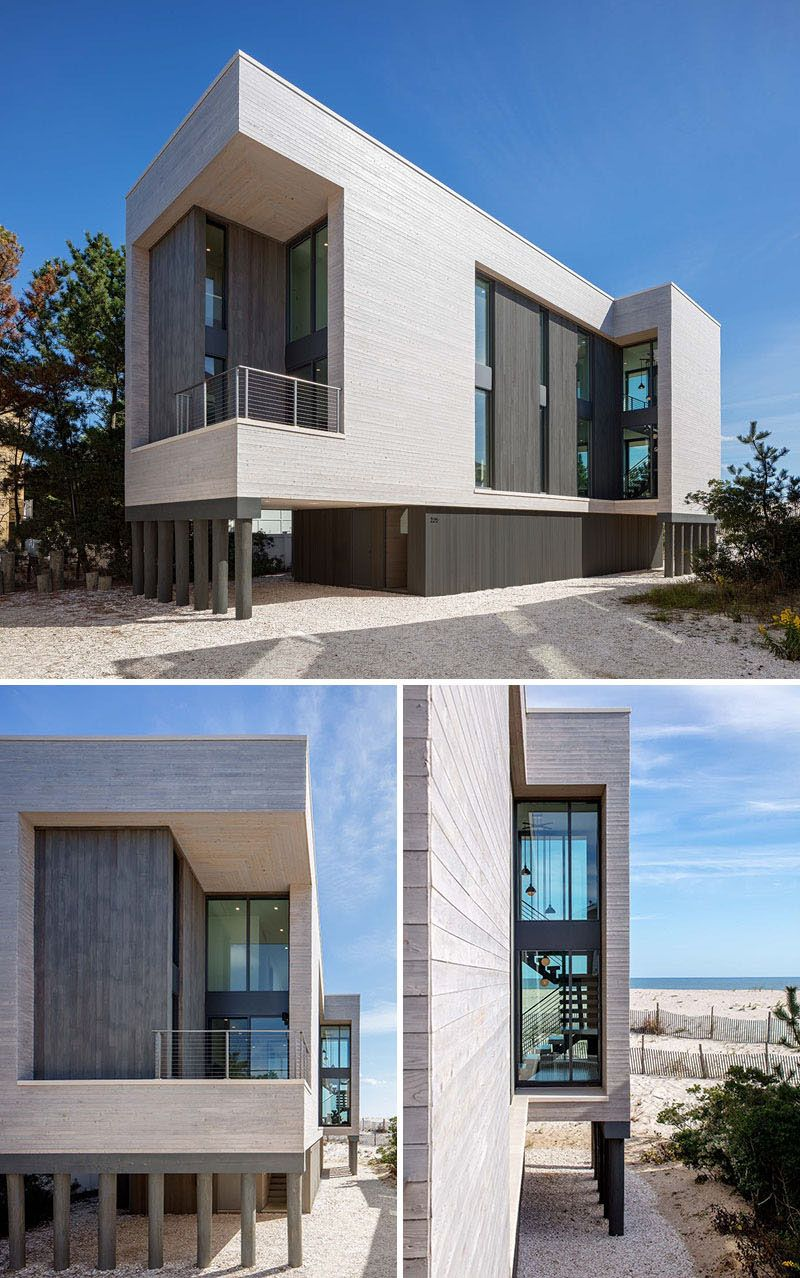 Specht architects have designed this new modern house on long island beach in new jersey thats a replacement for a home that was destroyed in hurricane