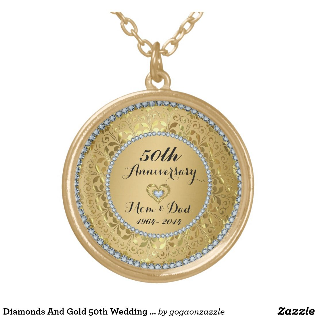 Diamonds And Gold 50th Wedding Anniversary Gold Plated Necklace Zazzle Com 50th Wedding Anniversary Gold Gold Anniversary 50th Wedding Anniversary