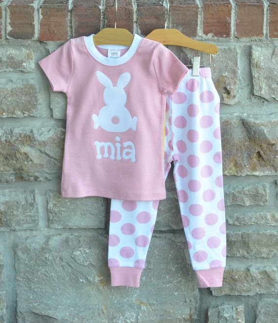 Easter Pink Dot Pajamas Personalized by julianneoriginals on Etsy ...