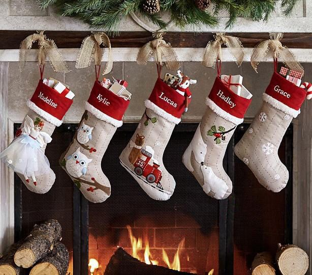 Personalized 3d Large Flax Christmas Stockings Holidays