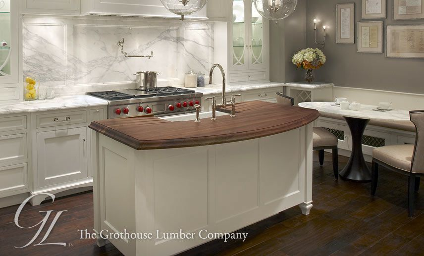 Charming Island Kitchen Sink #9: White Kitchen Wood Island Countertop | Walnut Wood Countertop With  Undermount Sink For Kitchen Island In