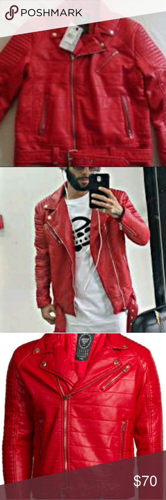 3537eaa6542d4c Red leather Jordan Craig jacket still has tags. Available for trade Jordan  Craig Jackets   Coats
