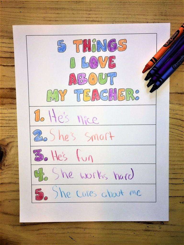 5 Things I Love About My Teacher and School Coloring Page ...