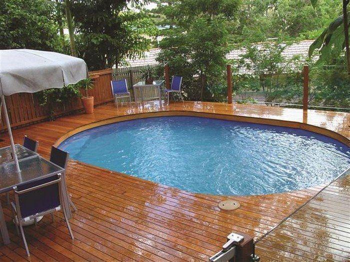 Modern Deck Around Above Ground Pool Backyard Living