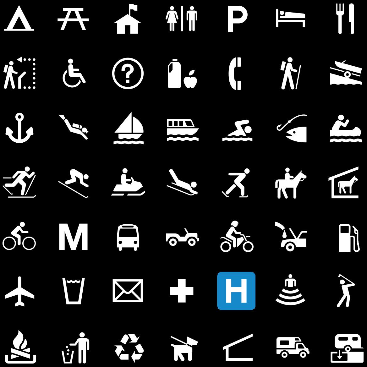 National Park Service sample pictographs 아이콘 모음, 클립 아트, 아이콘