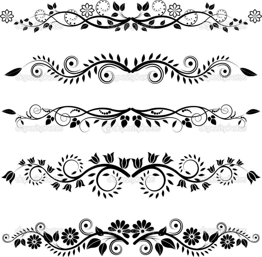 Decorative Black Flower Border Stock Image: Image Detail For -Floral Borders And Ornaments