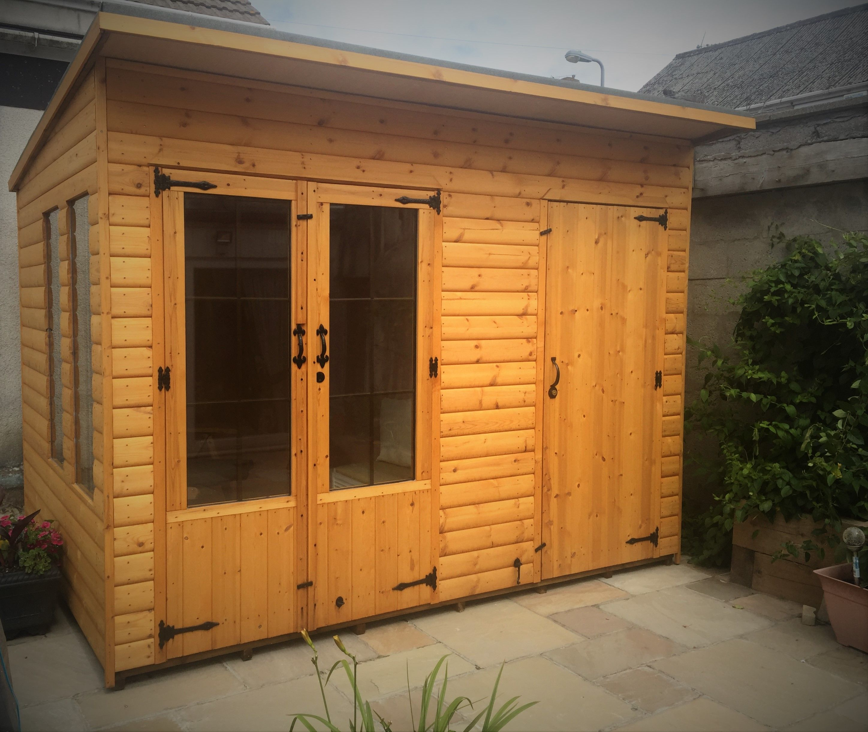 10 X 7 Summerhouse Shed Combined Pent Roof Double Glazed Units Treated With Red Cedar Wood Preservative With Images Summer House Timber Garden Sheds Timber Deck