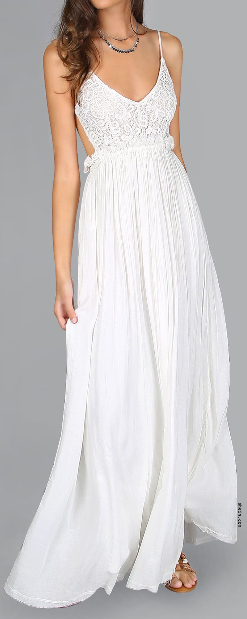 Lace Overlay Backless Pleated Maxi Dress | Clothing | Pinterest ...