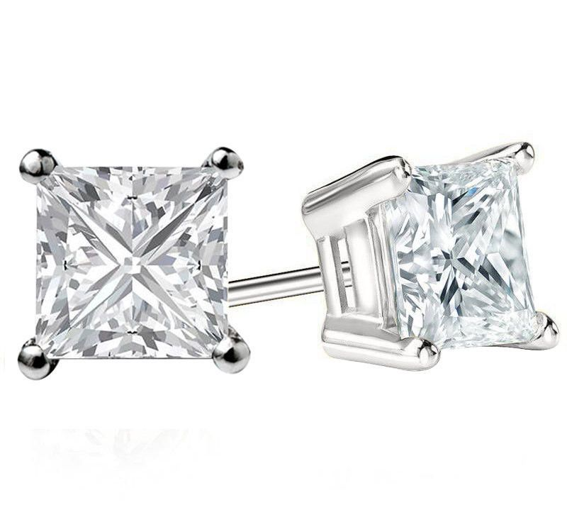 3CT PRINCESS CUT CREATED DIAMOND STUD EARRINGS 14K WHITE GOLD SQUARE SOLITAIRE