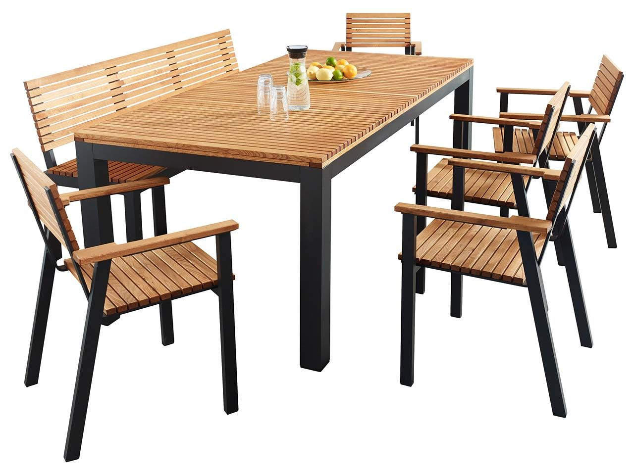 Gartenmobel Set Sassa 7 Teilig 5 Sessel 1 Bank 1 Tisch 200 X 100 Cm Gartenmobel Sets Gartenmobel Aussenmobel