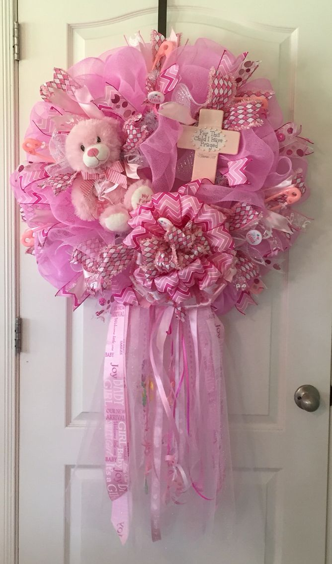 """Large Pink """"It's a Girl"""" Wreath for the hospital door or"""