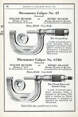 Micrometer Caliper No. 47 Measuring Tool 1941 AD Machine Tools Machinery
