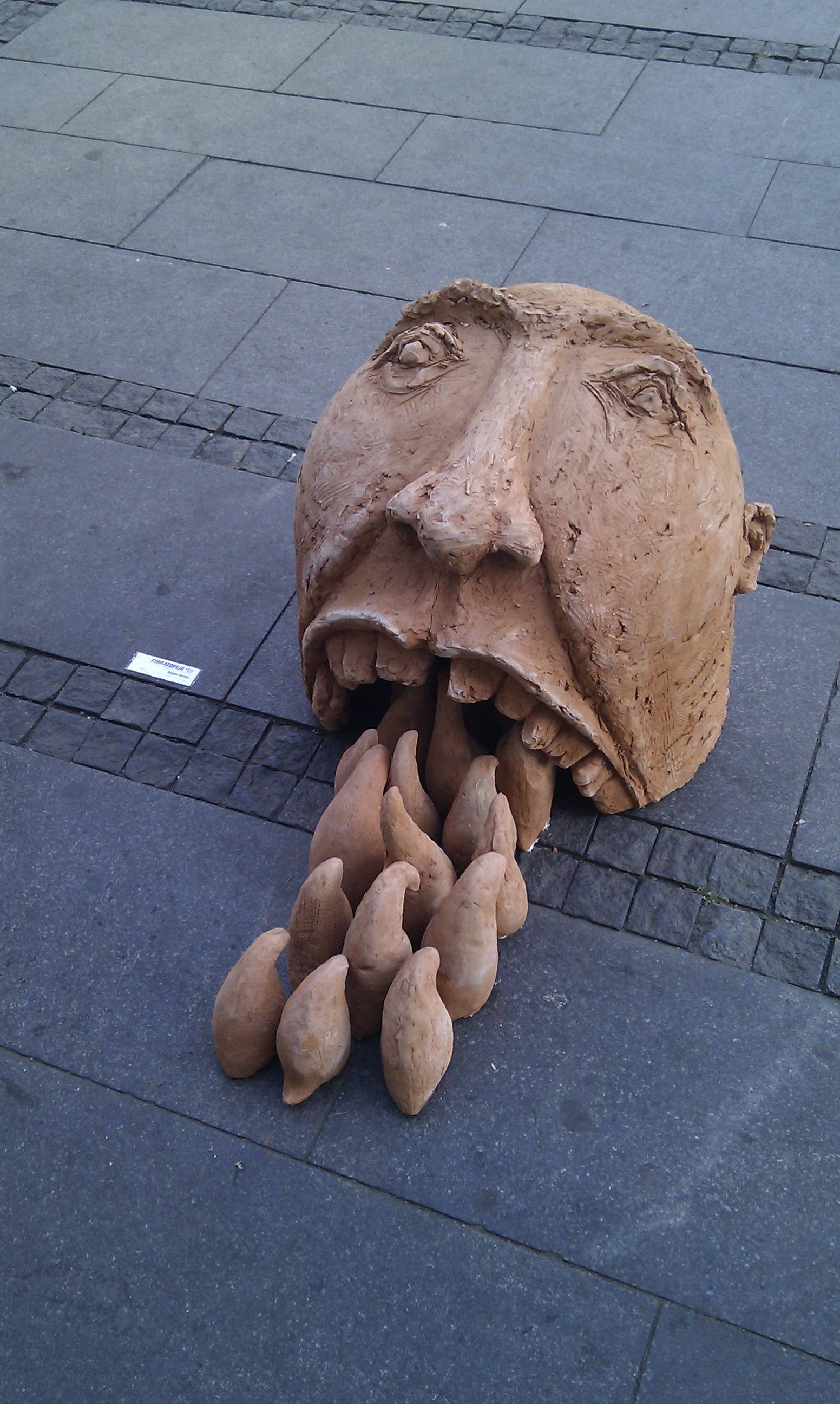 Artwork on display in Republic Square, Belgrade.