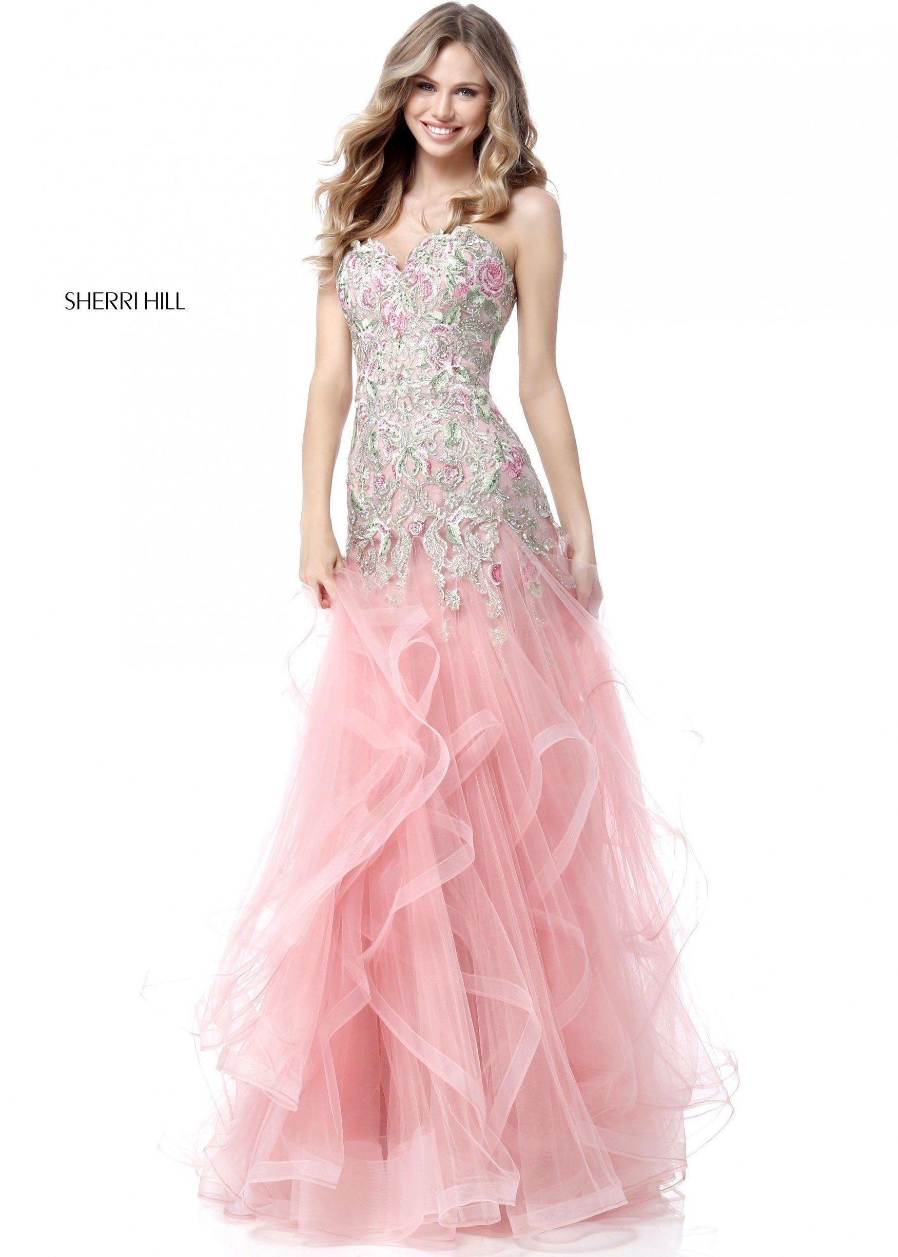 Sherri Hill 51719 Romantic Lace Tulle Ruffle Gown | Pinterest
