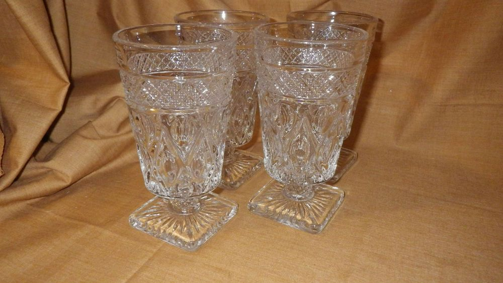 Vintage Pressed Glass Ice Tea Glasses Early American Prescut Glass 1950 4 8 oz #IndianaGlass