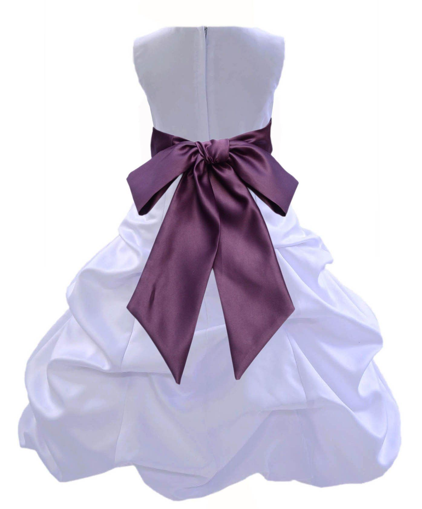 White Satin Pick up Beauty Pageant Bridesmaid Special Occasions Gown ...