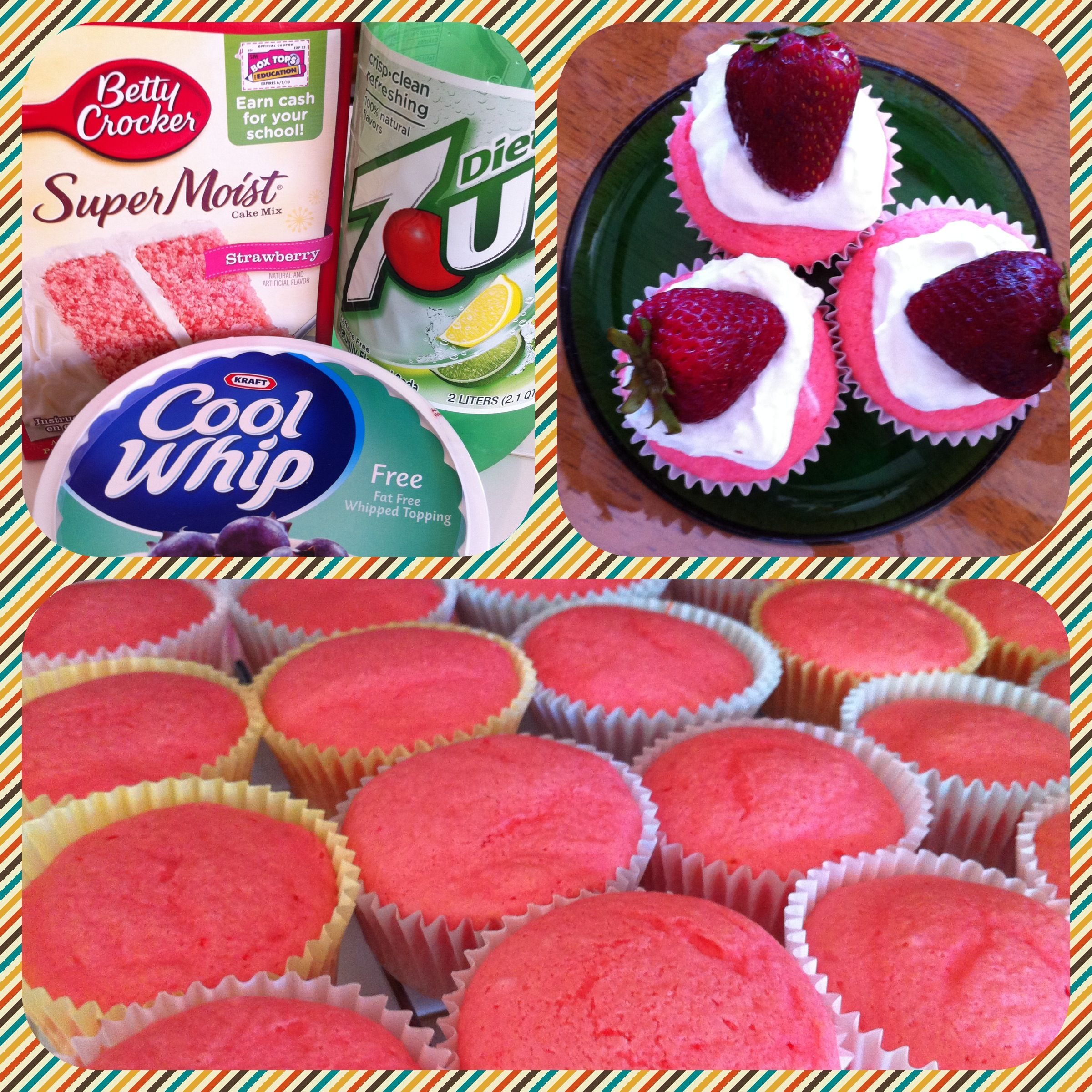Lite Strawberry Cupcakes!  Less than 100 calories each!! Replace all ingredients on package with 12oz Diet 7-up and bake as directed.