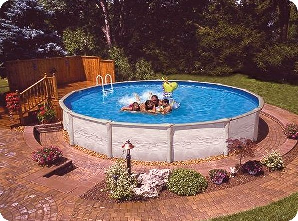 Garden Ideas Around Above Ground Pool : Aboveground pool landscaping water features