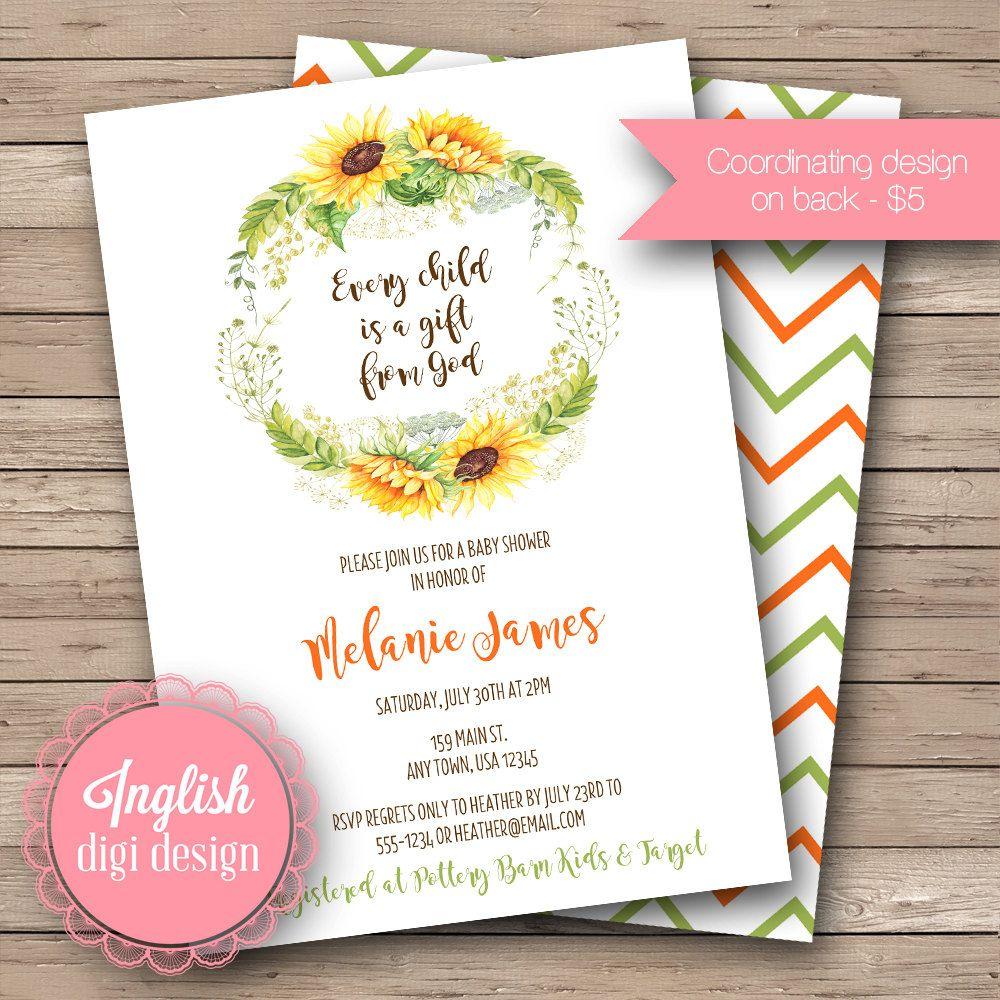 Inglish Digi Design | Watercolor Sunflowers Baby Shower Invitation ...