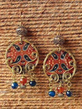 Orange And Navy Block Print Earrings