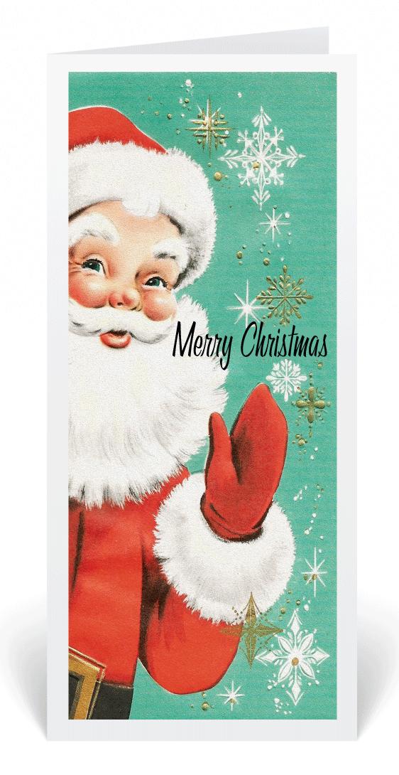 Retro Vintage 1950\'s Santa Christmas Card, vintage holiday cards ...