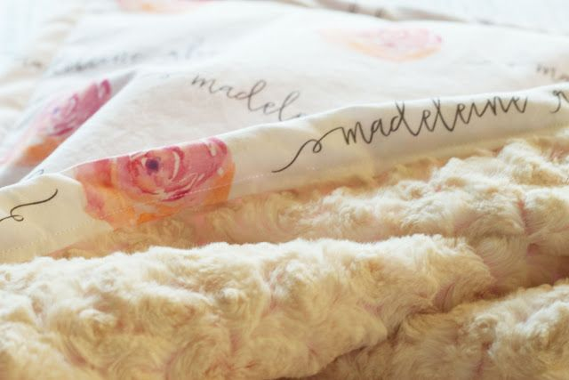 custom baby blankets - personalized with baby's name, design, and minky cuddle color