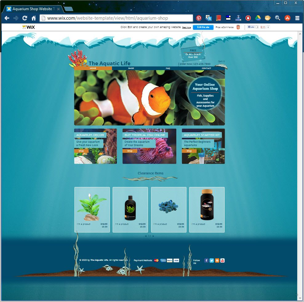 Attract Aquarium Lovers To Your Online Store With This Lovely Html5