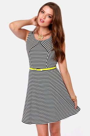Check it out from Lulus.com! As Seen on Emily of Yesterday's Sweetheart blog!! Extra! Extra! Read all about the Today's Headlines Black and White Striped Dress and you'll be hooked! Flirty woven fit and flare cut has a subtle V-back above a large back cutout to add some sex appeal. Neon yellow faux leather belt meets up with belt loops for an on-trend pop of color that emphasizes your girlish good looks. Lined. Model is wearing a size small. Shell: 95�0Polyester, 5�0Spandex. Polyester…