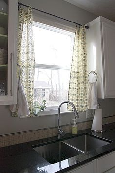 Curtains For Kitchen Window Over Sink Google Search Kitchen Window Treatments Kitchen Window Curtains Kitchen Sink Window
