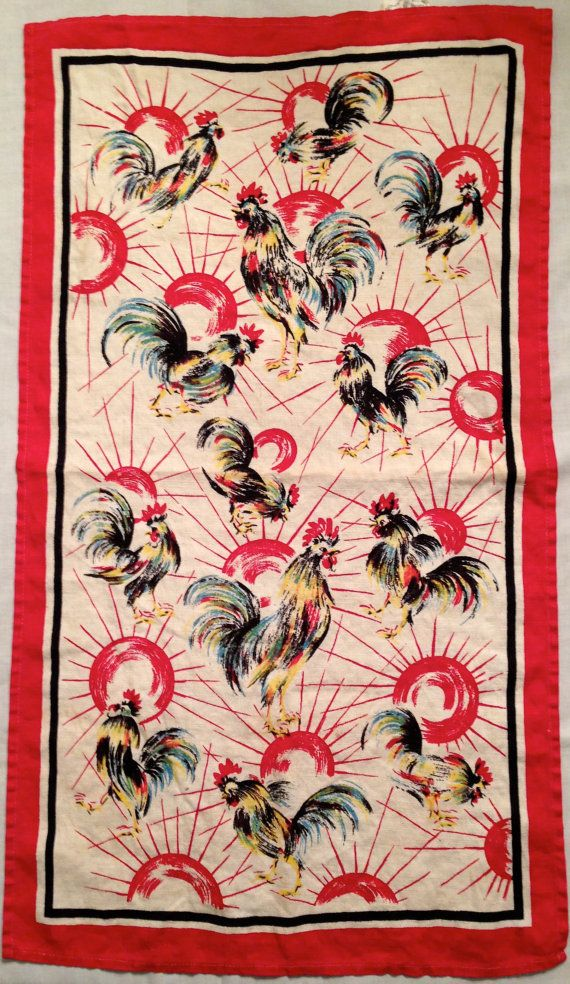 vintage leacock prints rooster towel by sewretropatterns on Etsy, $14.00