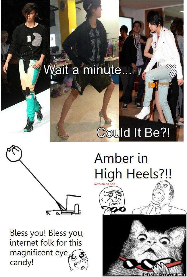 F X Amber In Heels Reactions Kpop Funny Amber Liu Kpop Memes