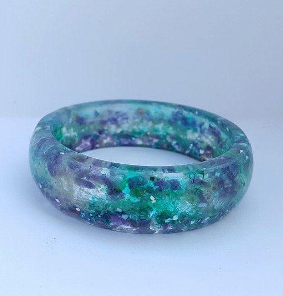 Eco resin and gemstone bangle by MySquishyMonkey on Etsy