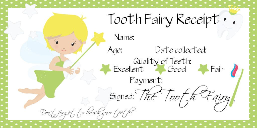 Os First Lost Tooth Tooth Fairy Receipt Free Printable Kids