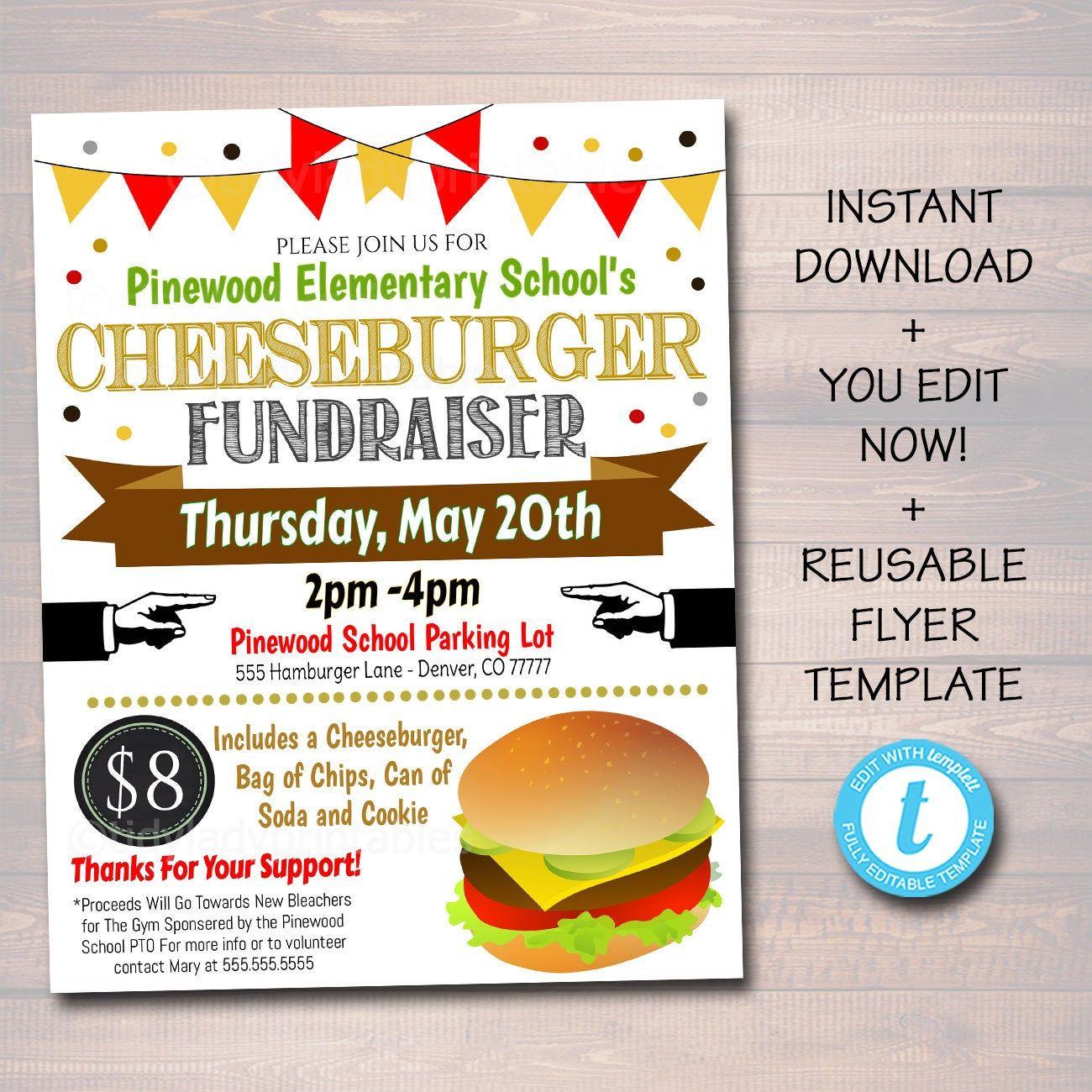 Editable Hamburger Fundraiser Flyer Printable Pta Pto Etsy In 2021 Fundraiser Flyer Fundraising Flyer Flyers for fundraisers template free