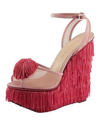 Charlotte Olympia Gigi Fringe Wedge Sandal, Pink - Bergdorf Goodman
