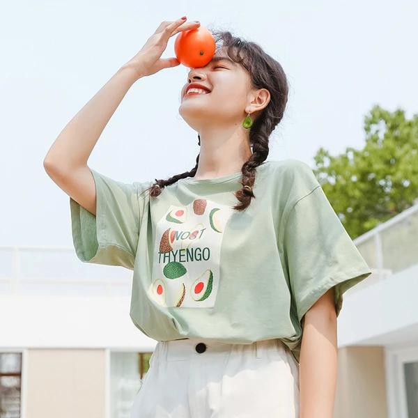 Korean Avocado Print Oversize T-shirt Cotton