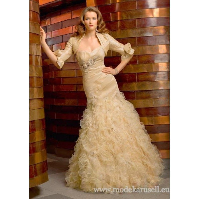 03d59d6a2dc18f Abendrobe Abendkleid Lang mit Bolero in Champagne | Abendkleider ...