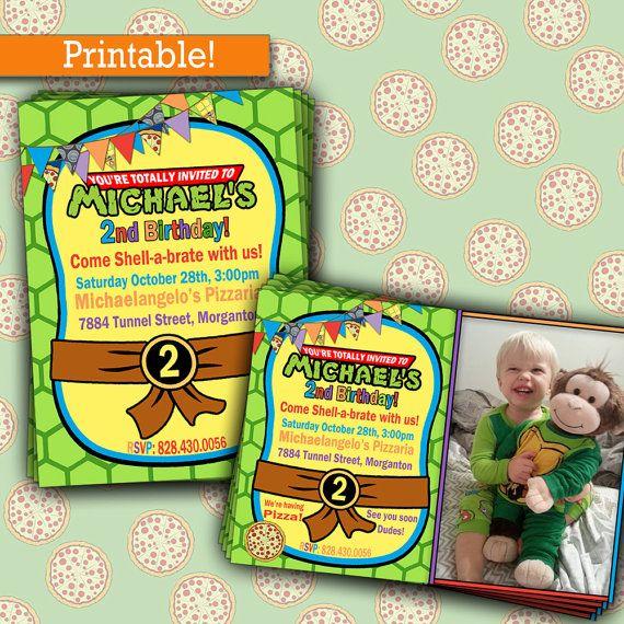 Ninja turtles photo birthday party turtles birthday party ninja turtles birthday party tmnt birthday party invitation printable picture invitation by inkyinvite stopboris Image collections